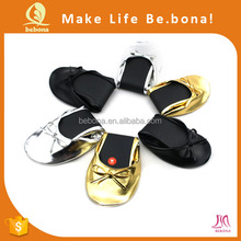 Ladies shoes guangzhou rollable foldable ballet shoes for women