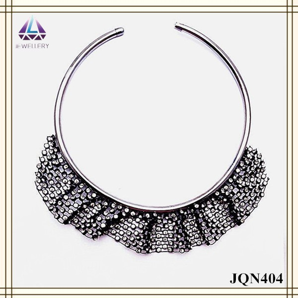 Collar adjustable hard chunky chain with wide braid bead design round fashion necklace