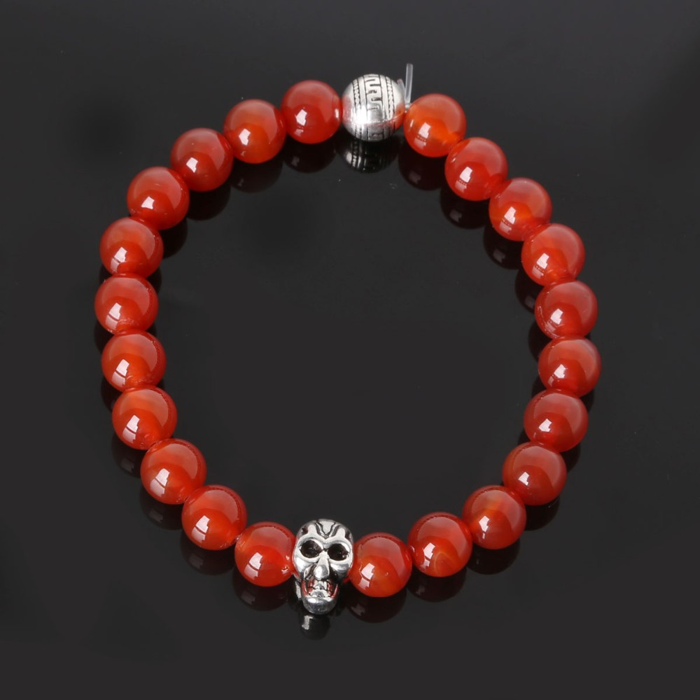 2016 New Handmade Natural Red Agate Stone Bracelet Tibetan Silver Plated Buddha Beaded Stretch Bracelets for Men & Women