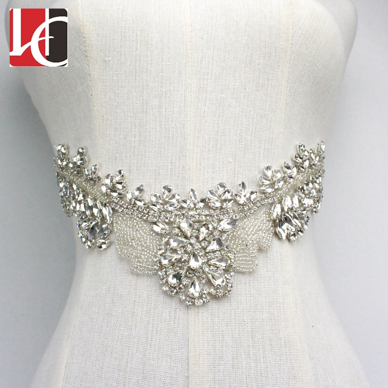HC-5808 Hechun new arrival neckline beads rhinestone applique <strong>crystal</strong>