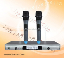 Professional VHF Quartz Crystal Dual Channels Wireless Microphone