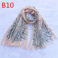 100% polyester animal Wing pattern printed scarf for lady
