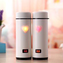 OXGIFT Made in China Alibaba Manufacture Amazon Creative LED smart gift cups stainless steel couples love touch warm cups