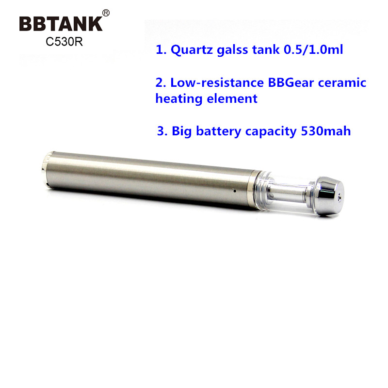 2020 top selling rechargeable atomizer battery kit built in USB cbd oil vape pen glass .5ml tank BBTANK C530R