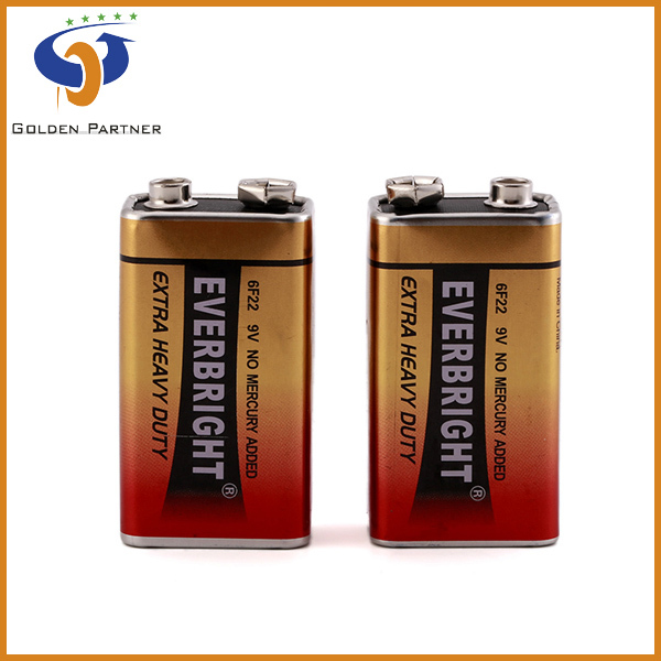 Professionally-producing 9v 6f22 carbon zinc efficiency batery
