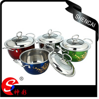 3pcs colorful stainless steel cookware set pot set
