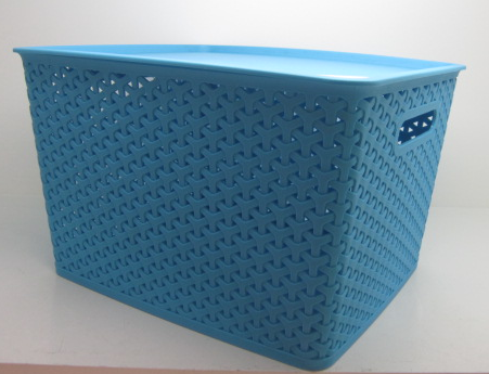 plastic mesh rattan storage basket with lid