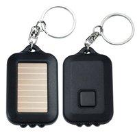 Mini Black Solar high Power Rechargeable LED Flashlight With Keychain