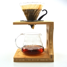 Wholesale CHEMEX Wooden Coffee Filter Holder + Glass Percolators + Glass Server Pour Over Coffee V60 Dripper Strainer Set