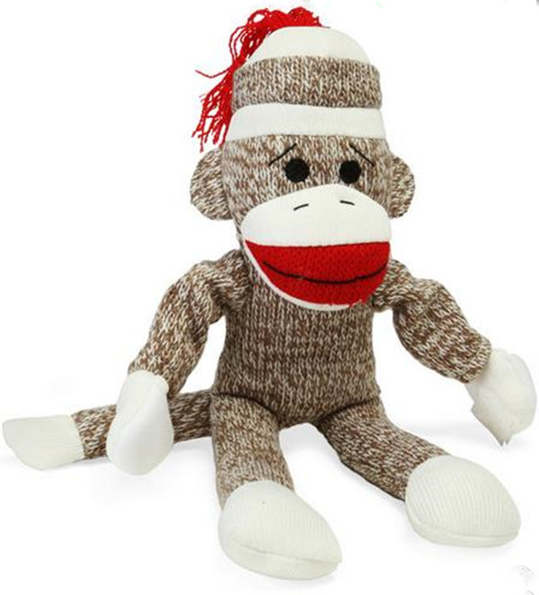 hotsale cute cartoon plush stuff sock monkey toy