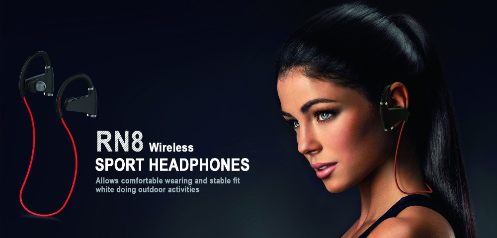 RN8 Hot waterproof wireless headphone sports stereo bluetooth headset with mp3 player