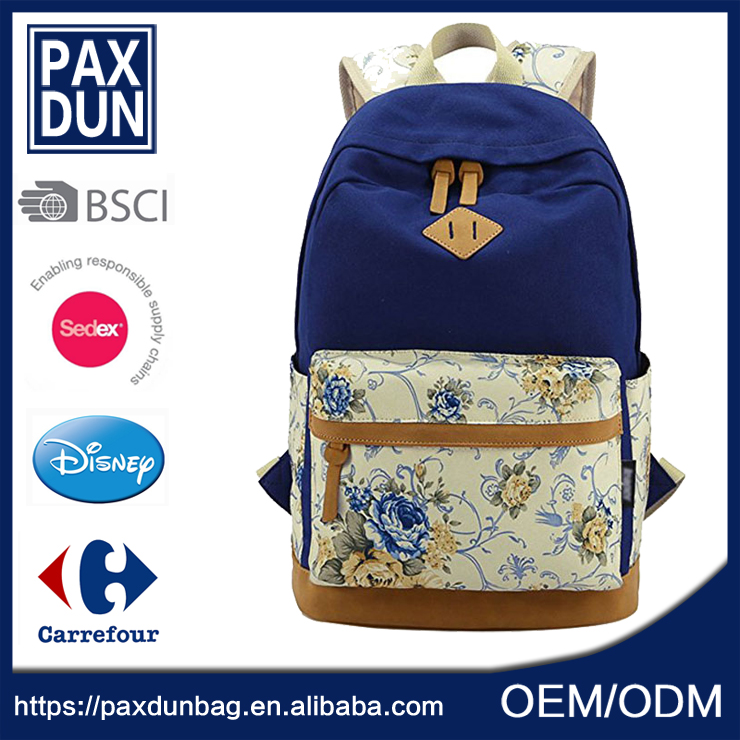 Hot Selling Wholesale Floral Canvas Cool <strong>Backpack</strong> For High School