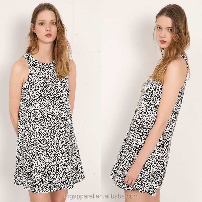 New arrival shift A line leopard print adult baby doll dress for women