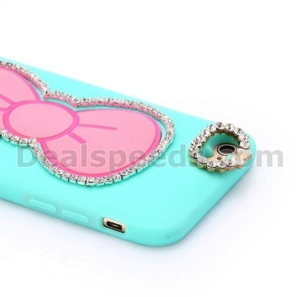 3D Diamond Studded Bowknot Stand Flexible Silicone+ PC Back Cover Case for iPhone 6