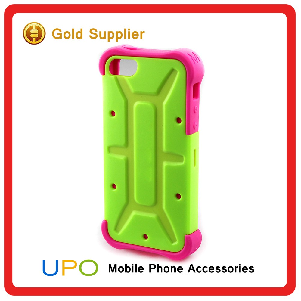 [UPO] Classical Shockproof Hybrid Combo Rose Red Silicone Back Cover Case for iPhone 5