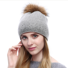 Autumn and winter fashion Cashmere Knitted Hat Lady diamond raccoon fur ball cap