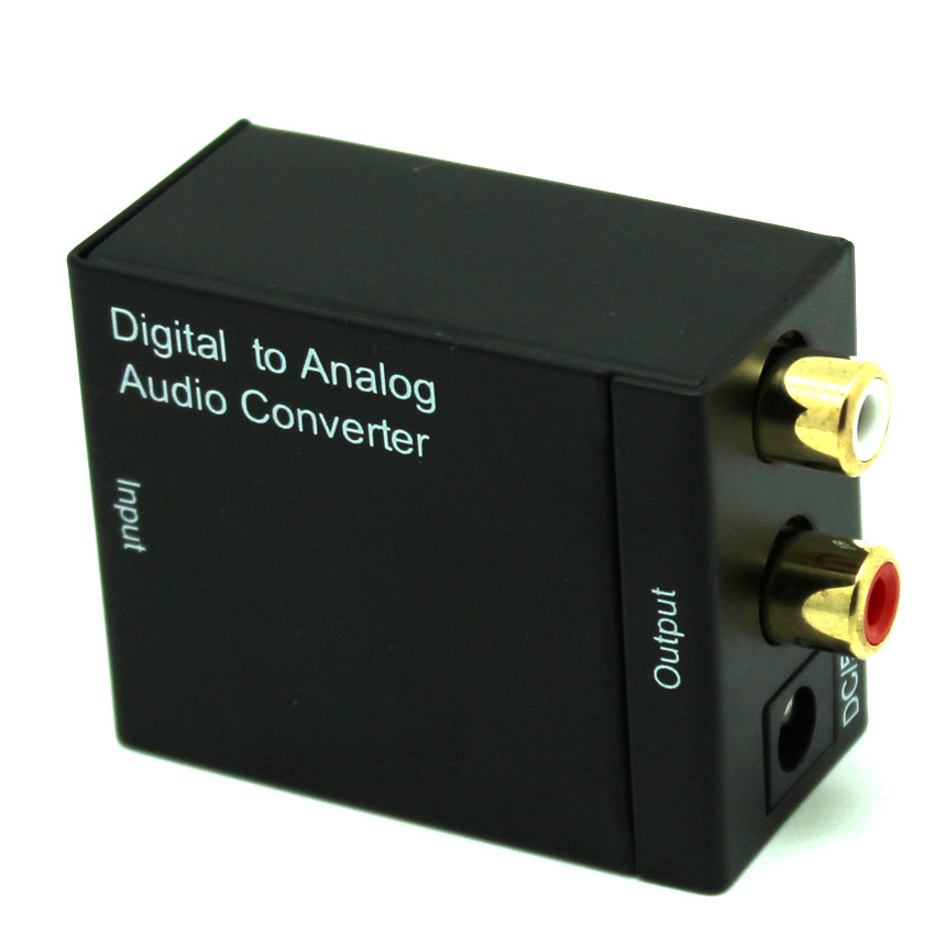 Digital Optical Coaxial to Analog RCA R/L Audio Converter with 3.5 mm Jack, 24-bit DAC with DC 5V Power Supply Adapter