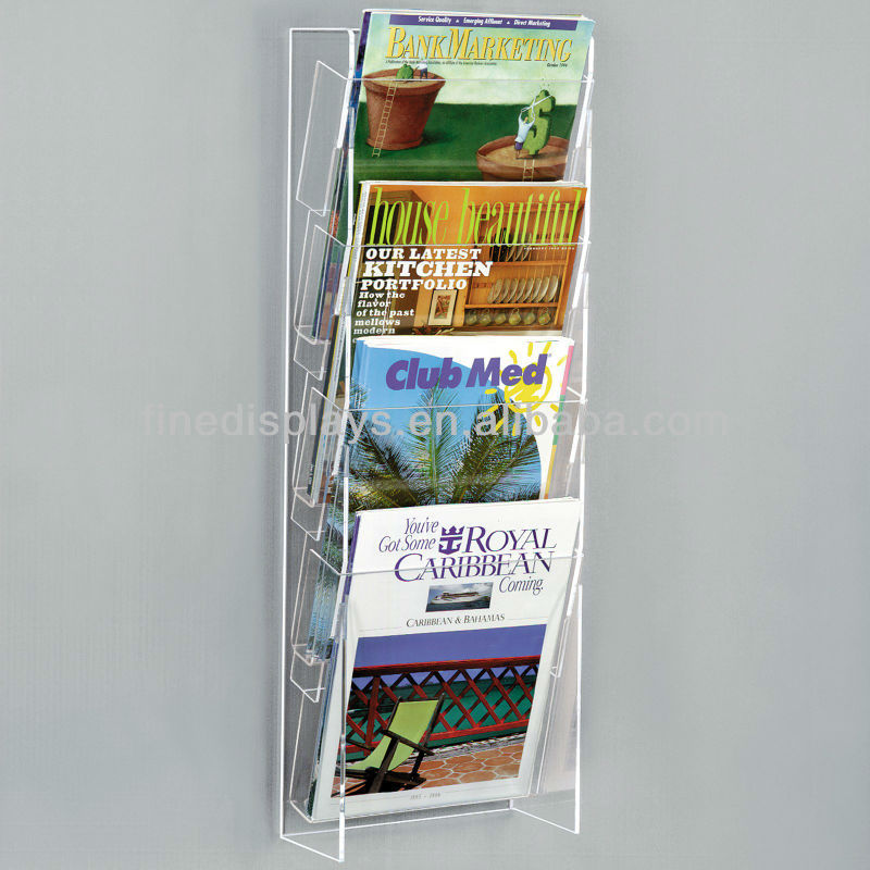 acrylic clear wall mount magazine rack os f 080