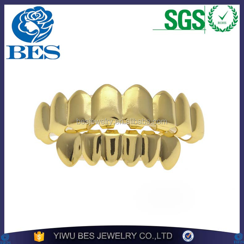 Plain Grillz Set Gold Finish Eight 8 Top Teeth and 6 Bottom Tooth Plain Hip Hop Grills