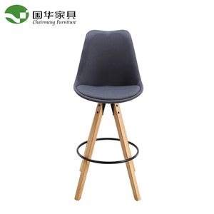 New Design fabric rubber wooden leg leisure high bar dining chair with footring