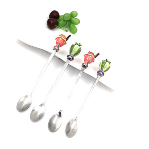4 pcs high quality stainless steel spoons with ice cream shaped poly long handle