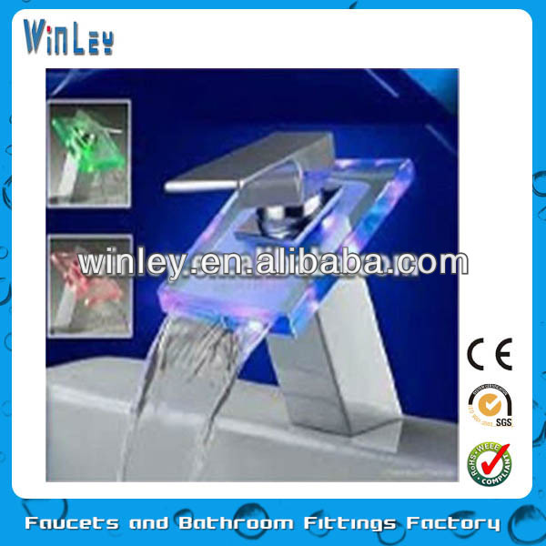 Waterfall Bathroom Led Faucet No Battery
