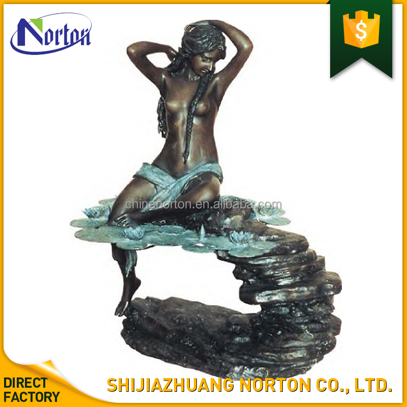 Life size bronze nude lady statue indoor water fountain NT-BS237B
