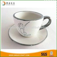 Wholesale High Quality White Tea/Coffee Cup And Saucer with silvery trim