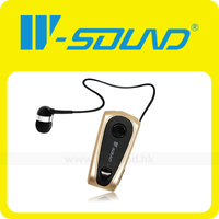 2014 new design retractable gold ear buds bluetooth headset