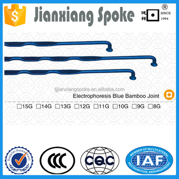 Bicycle spare part 8g 9g 10g 11g 12g 13g 14g 15g Electrophoresis Blue Bamboo Joint steel spoke and nipple for wheels motorcycle