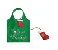 Cheap 190T polyester recyclable folding shopping grocery bag with christmas socks