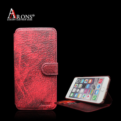 2016 newest red wallet with card slot flip opening genuine leather mobile phone case for iphone7