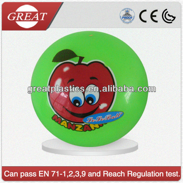 Small funny ball with fruit sticker and fruit smell