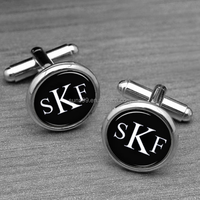 Stainless Steel Three Initials Monogram Cufflinks