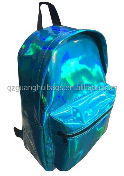 2166 Zicac Girl's Sliver Holographic Laser Leather Backpack Travel Casual Satchel