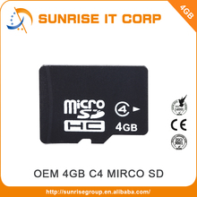 Taiwan factory wholesale oem class4 bulk micro 4gb sd card