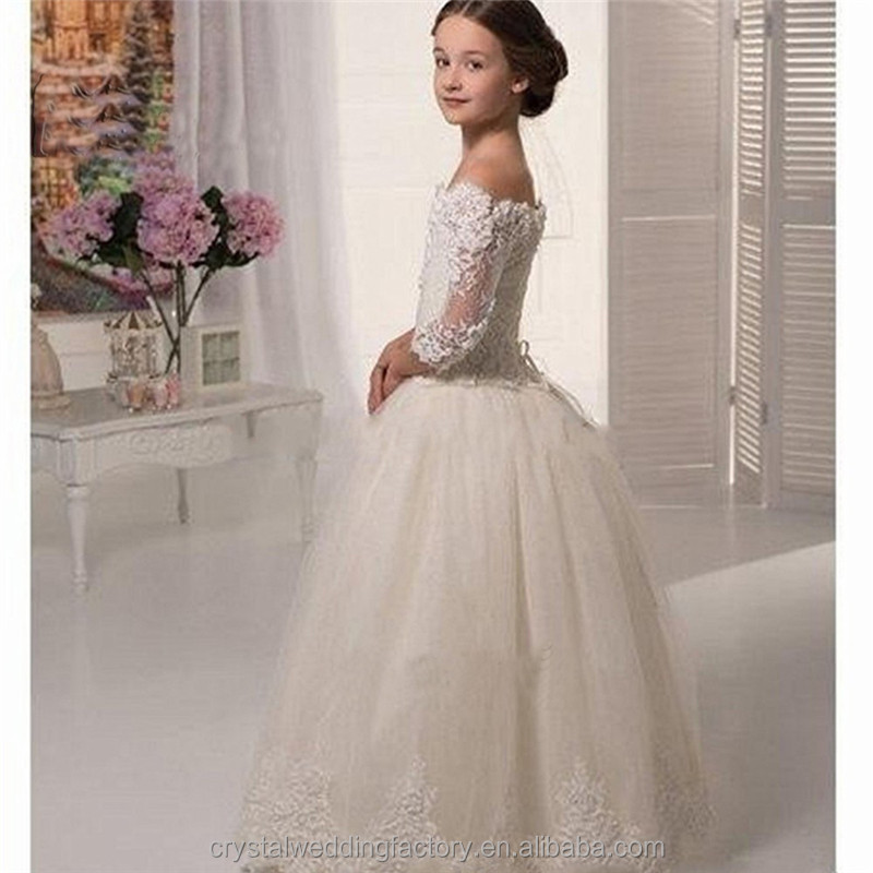 Latest Children Princess Wedding bridesmide dresses Frocks Birthday Lace A Line Long Flower Girl Dresses with Long Sleeve LF29