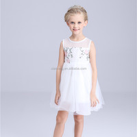 White chiffon young girl dress party children frocks designs