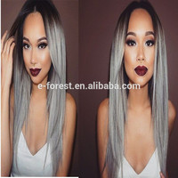 Black Friday Cheap 130% Density Dark Root Grey Human Hair Wigs With Layer