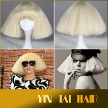 2015 Amazing Blonde Synthetic Lady Gaga Lace Cosplay Wig White Color Short Straight Pop Star Wig