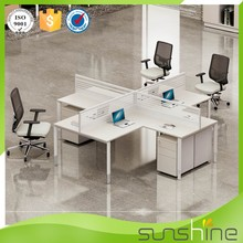 Sunshine Furniture High End White Office 4 Seats Workstation Table Models