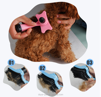 2016 new good quality Dog Cat Self Cleaning Grooming Brush With Bonus Pet Trimmer Attachment Hair Shedding comb For cats dogs
