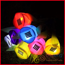 Free Shipping Outdoor Yard Garden Path Way Solar Power LED Tulip Landscape Flower Lights