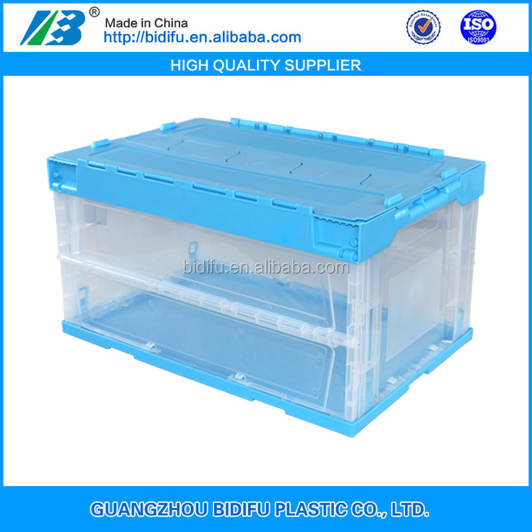plastic logistic Tote collapsible plastic moving crate foldable plastic crate with lid