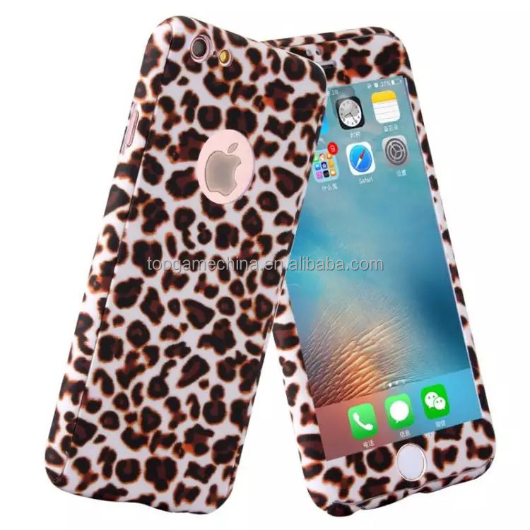 Leopard 360 Full Body Protective Cover For iPhone 5 6 6Plus Hard PC Case + Tempered Glass Flim