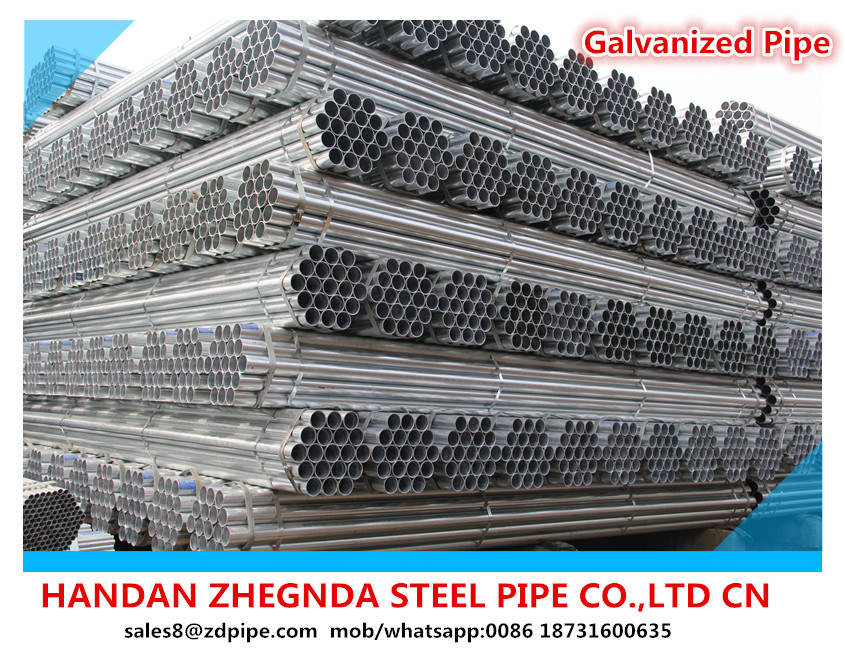 ASTM A500 DN 100 4''INCH Galvanized Round Hollow Section Mild Steel Pipe for water,oil,gas transmission