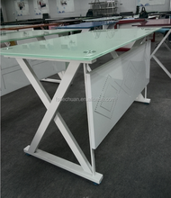 Modern executive table glass office desk with iron leg