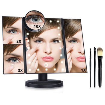 Mirror Manufacturers Tri-fold Lighted Touch Screen 22 LED Vanity Makeup Mirror