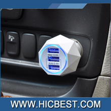 Hicbest Private mold Diamond Design 3 Ports USB Female Car Battery Charger Adapter with Automatically Current Output 2.4A