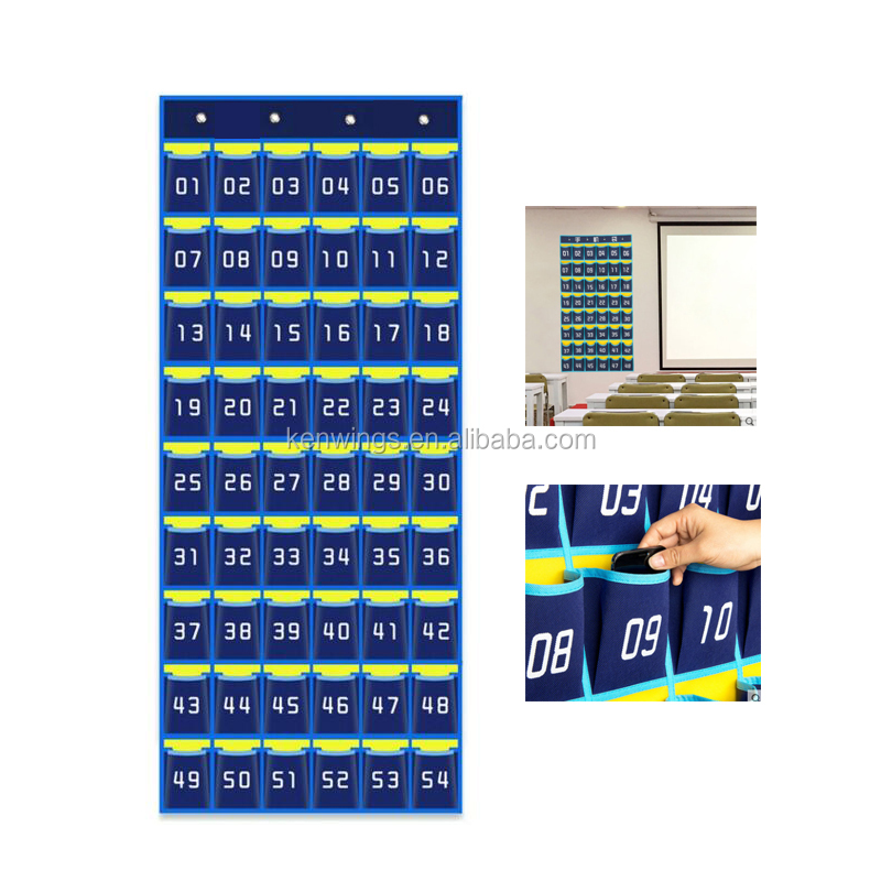Numbered Classroom Pocket Chart Cellphone Hanging Organizer